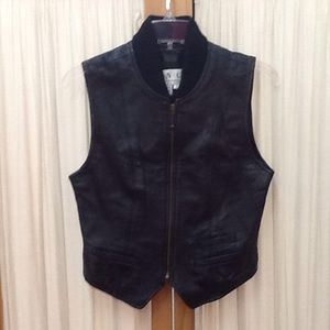Black Leather Vest by INC